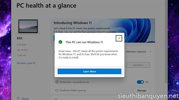 Máy tính của bạn có được cập nhật lên windows 11 hay không