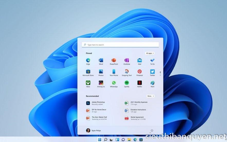 Thiết kế đơn giản và hiện đại của Windows 11